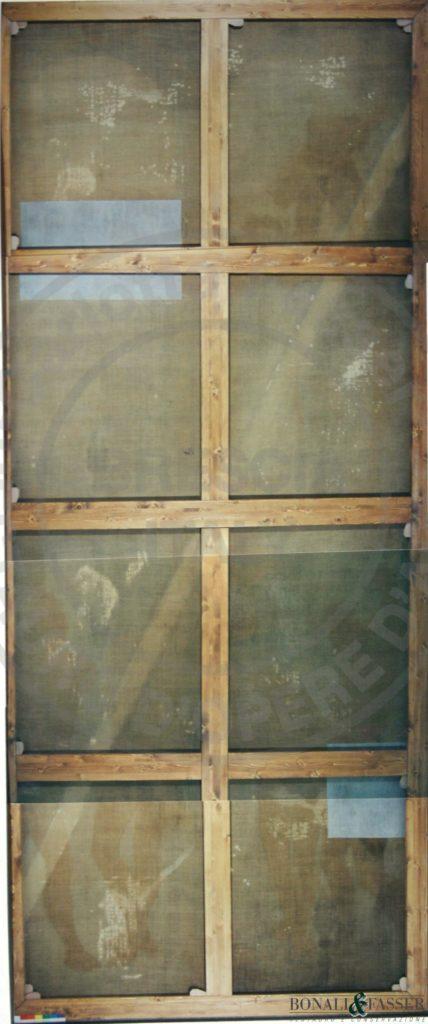 Visione del supporto dopo il restauro con il mantenimento del dipinto in prima tela