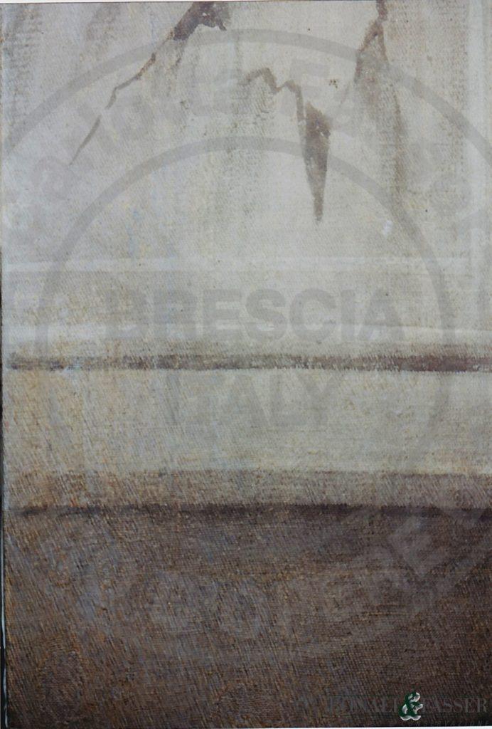 Dettaglio dopo il restauro, con reintegrazione pittorica degli inserti di supporto con tecnica a tratteggio realizzata con acquerelli