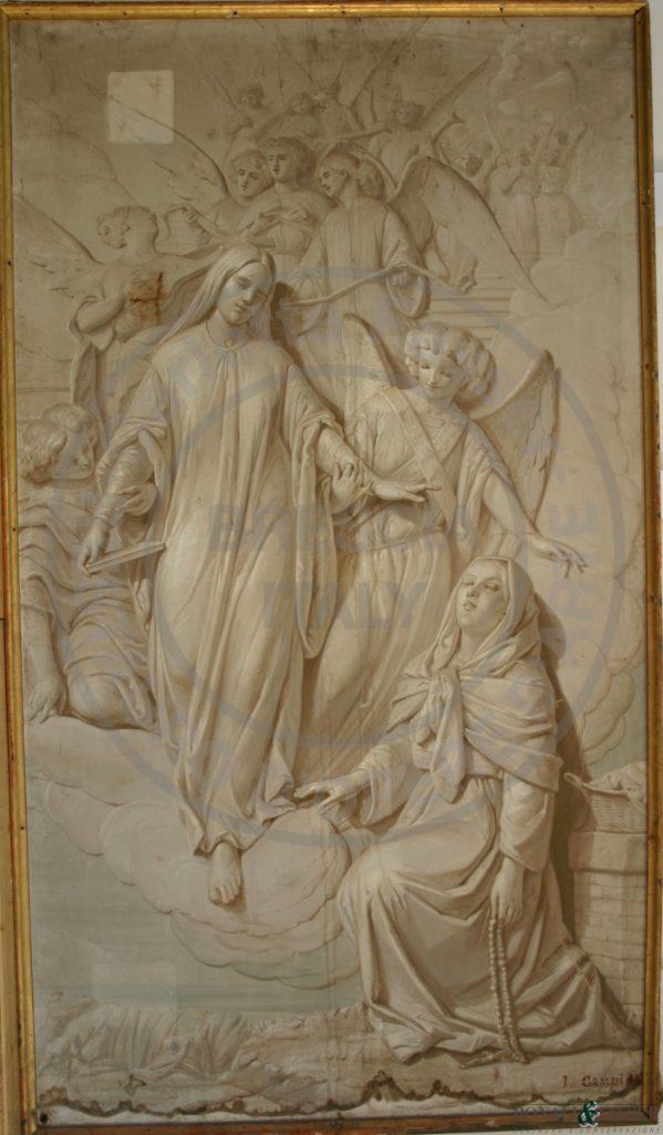 Il dipinto durante l'esecuzione dei tasselli di pulitura