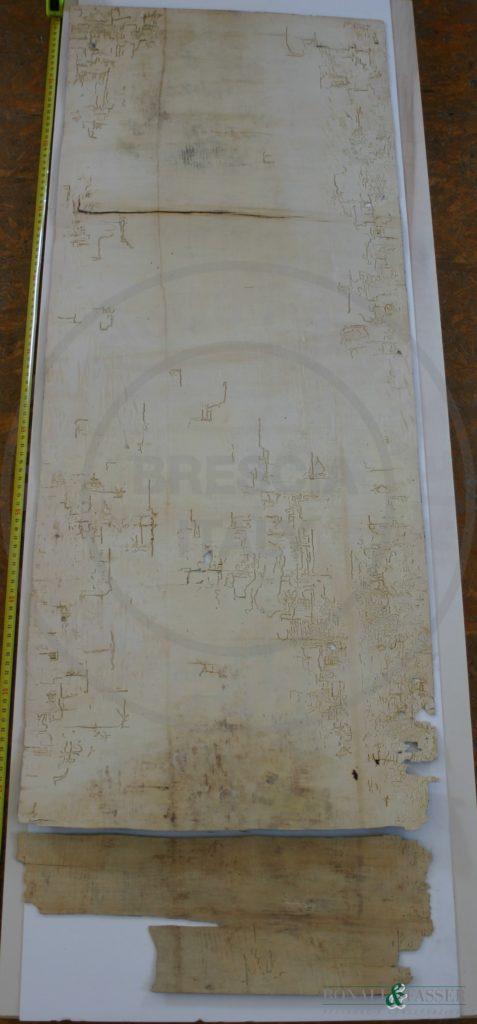 Il verso del dipinto prima del restauro