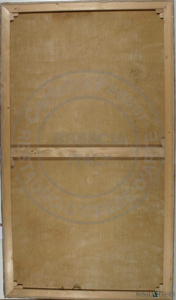 Il verso del dipinto dopo l'intervento di retauro con il mantenimento  del supporto in prima tela