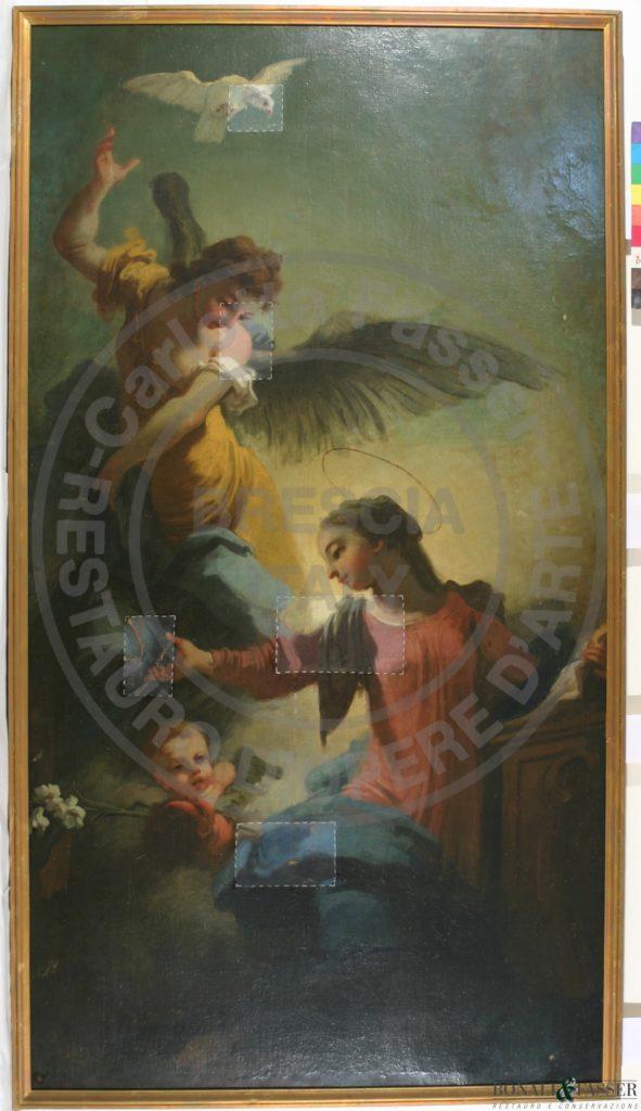 Il dipinto durante la realizzazione dei tasselli di pulitura