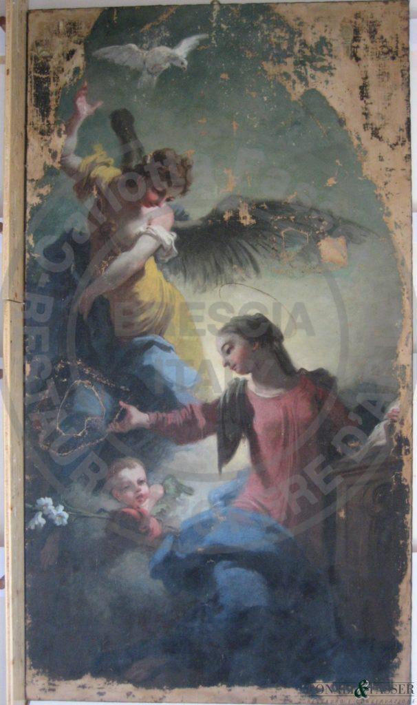 Il dipinto dopo l'intervento di stuccatura