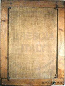Il verso del dipinto prima del restauro, con visione del supporto foderato