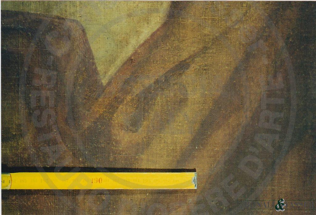 Dettaglio del recto in corrispondenza della lacuna di supporto dopo l'intervento di restauro
