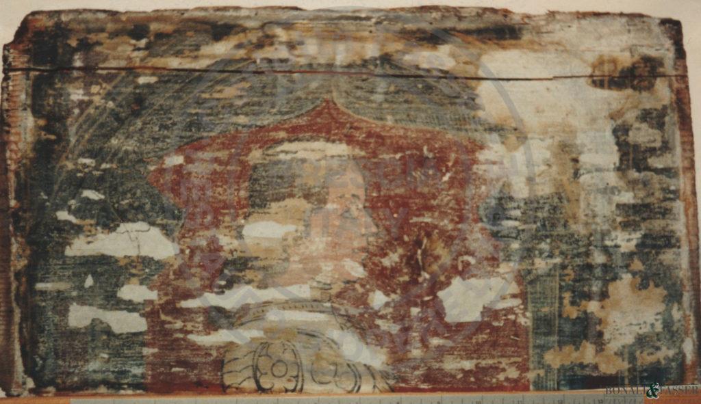 Dettaglio di una tavoletta prima dell'intervento di restauro